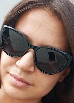 Стильные чёрные очки кошки очки лисички swarovski polarized антиблик стиль одри хепбёрн4 фото
