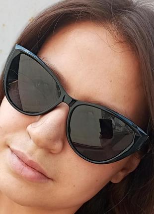 Стильные чёрные очки кошки очки лисички swarovski polarized антиблик стиль одри хепбёрн6 фото
