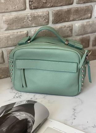 Натуральная женская кожаная сумочка на длинном ремешке через плечо кроссбоди мятная genuine leather италия зелёная с ручкой бирюзовая