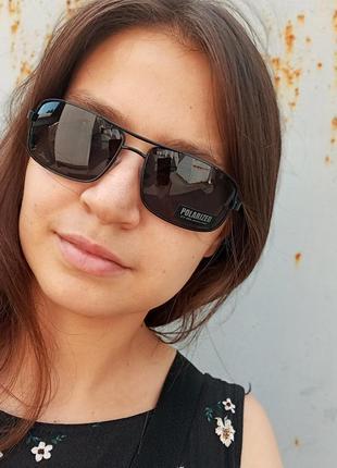 Стильные классические актуальные небольшие э универсальные очки алюминиевый корпус polarized антиблик6 фото