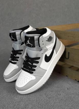 Nike air jordan🆕женсике высокие кожаные кроссовки найк аир джордан🆕серые с белым