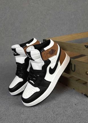 Nike air jordan🆕женсике высокие кожаные кроссовки найк аир джордан🆕черные с коричневым