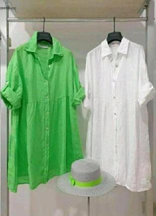 Свободное платье- туника из смеси льна