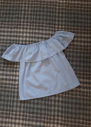Красивый голубой топ в горошек / топ с воланом/ блуза