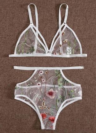 Белый сексуальный кружевной комплект белья сетка с вышивкой высокие трусики с портупеей xs s m l