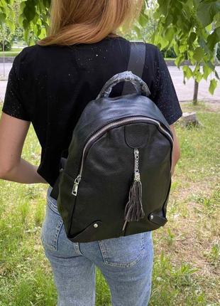 Женский кожаный мини рюкзак городской прогулочный рюкзачок из натуральной кожи