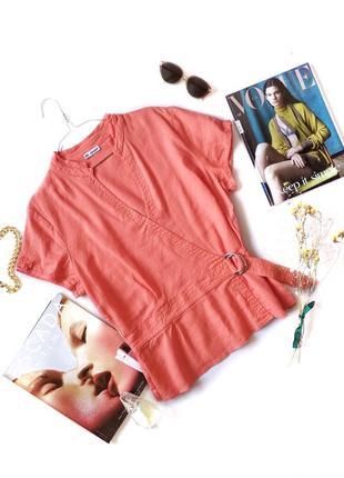 Блуза рубашка оранжевая лососевая лен льон с вырезом autograph