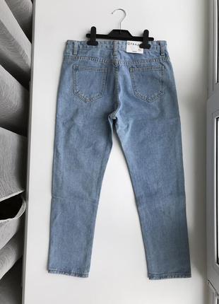 Мом джинсы из качественного джинса, нежно-голубого цвета с дырками, рваные джинсы2 фото
