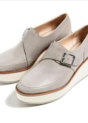 Шкіряні туфлі монки на платформі