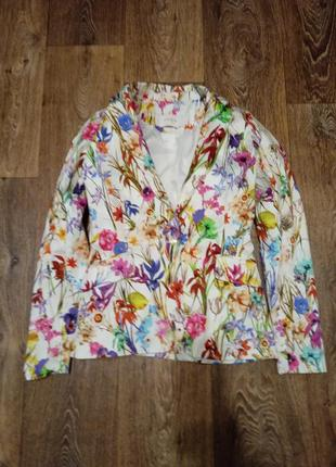 Пиджак піджак reserved брендовый брендовий яскравий яркий в цветочный принт цветочек модный стильный крутой