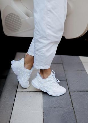 Кроссовки адидас женские озвего обувь взуття кеды белые adidas ozweego white