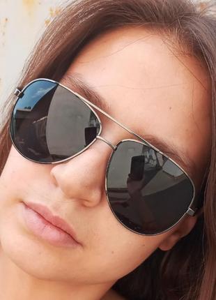 Стильные достаточно крупные очки авиаторы капли polarized антиблик унисекс