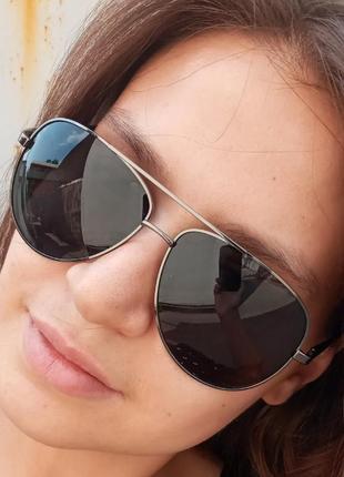 Стильные достаточно крупные очки авиаторы капли polarized антиблик унисекс3 фото