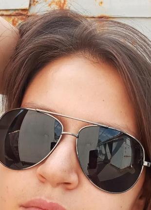 Стильные достаточно крупные очки авиаторы капли polarized антиблик унисекс4 фото