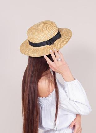 Соломенная шляпа канотье  7см поля размер регулируется