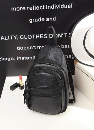 Стильный женский мини рюкзак на плечо черный прогулочный