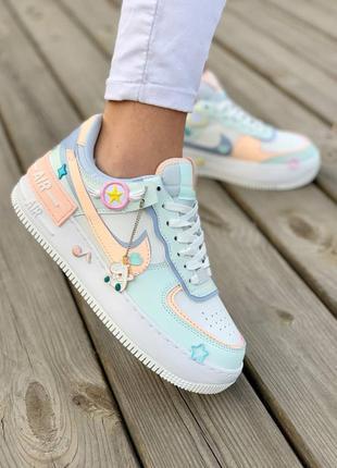 Nike air force shadow 'sail crimson tint' stickers кросівки дівчачі зі стікерами