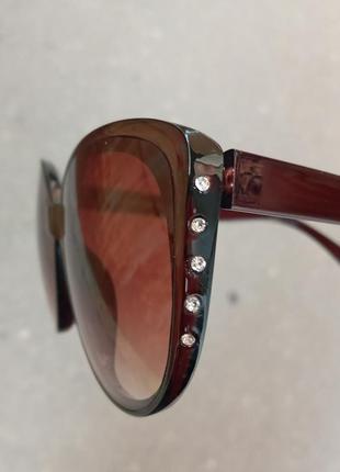 Стильные очки кошки очки лисички коричневые очки со стразами сбоку 3 категория защиты из 4 существующих