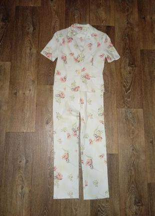 Брючный брючний костюм в цветочный принь цветочек пиджак футболка + и брюки штаны штани піджак штани летний літній красивый