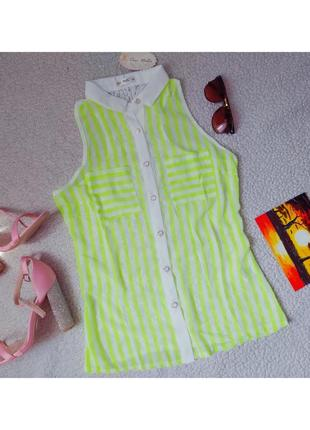 Блуза неоновая с белым и кружево сзади