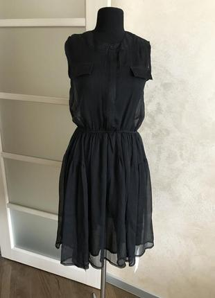 Шифоновое черное палтье миди