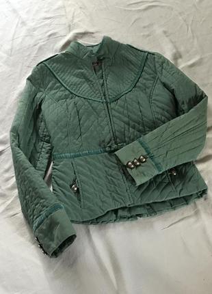 Стёганый тёплый жакет, пиджак, курточка в венгерском стиле, воротник - стойка. 100% хлопок