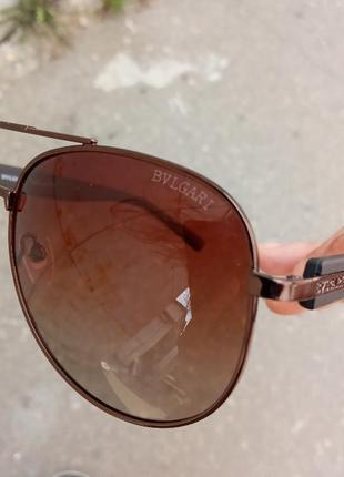 Стильные качественные очки авиаторы антиблик поляризация polarized bvlgari унисекс5 фото