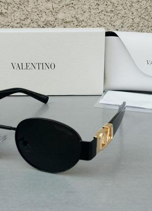 Valentino стильные женские солнцезащитные очки черные в черной металлической оправе с золотым лого