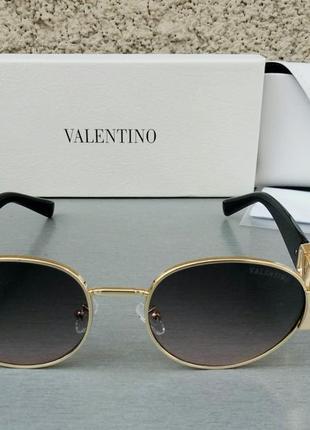Valentino стильные женские солнцезащитные очки серо розовый градиент в золотом металле2 фото