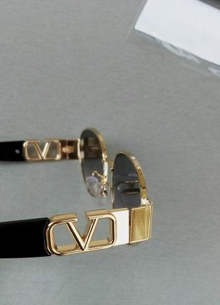 Valentino стильные женские солнцезащитные очки серо розовый градиент в золотом металле8 фото