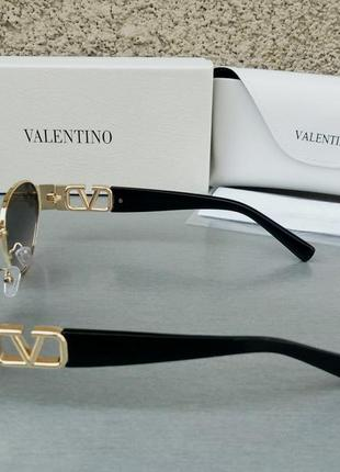 Valentino стильные женские солнцезащитные очки серо розовый градиент в золотом металле4 фото