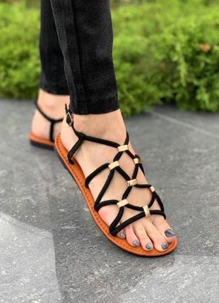 Женские сандалии греция черные