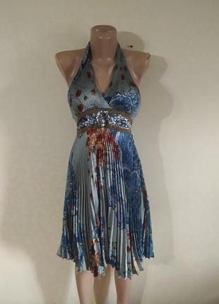 Платье сарафан серый интересный с декольте легкий в пайетках разноцветный в цветах
