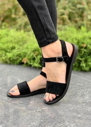 Женские сандалии замшевые черные
