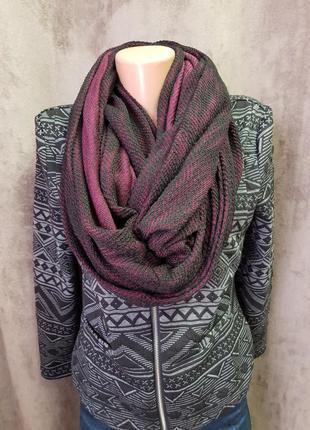 Шарф хомут,хлопковый шарф хомут,бордовый шарфхы хомут