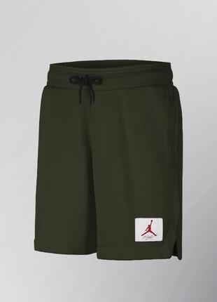 Мужские летние трикотажные шорты nike air jordan хаки зелёные с карманами сбоку найк джордан