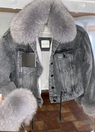 Женская джинсовка джинсовая  куртка с песцом, с мехом, xs-l