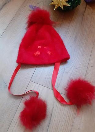 Красивая шапка красная с натуральной опушкой