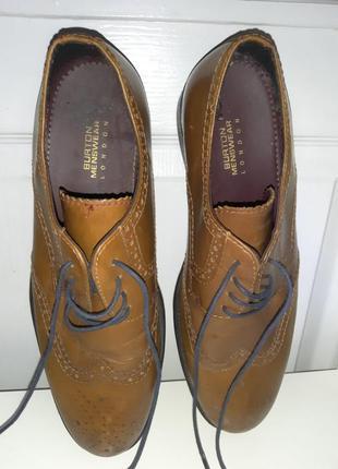 Мужские кожаные туфли, коричневые броги, оксфорды. 45 р. по стельке 30 см.
