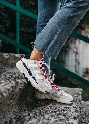 Женские кроссовки adidas niteball cream white/pink#адидас