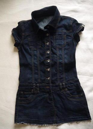 Джинсовое тёмносиние короткое платье