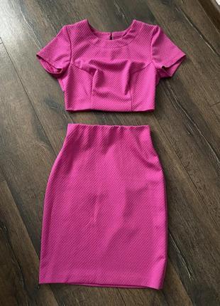 Трикотажный комплект юбка и топ4 фото