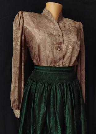 Винтажная блуза, ретро рубашка, рукава фонари, винтаж, вінтаж, вінтажна блузка, сорочка в принт, вінтажному стилі, в винтажном стиле