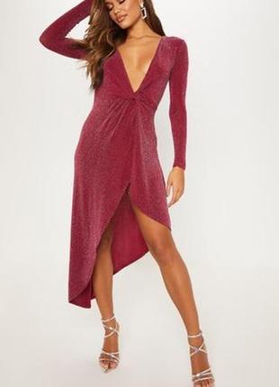 Летняя распродажа 🔥🔥🔥 бордовое нарядное стрейчевое асиметричное платье