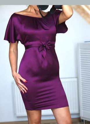 Роскошное нарядное платье эффектное платье цвета фуксии шелковое платье летучая мышь