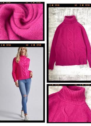 Шерстяной свитер с горлом водолазка шерсть/ ангора