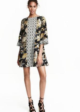 Платье трапеция в пальмах h&m