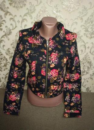 Короткая джинсовая куртка, пиджак цветочный принт