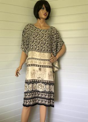 Платье туника принт слоны