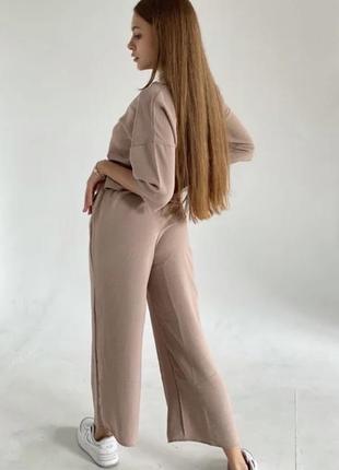 Свободные штаны кюлоты комбез широкие штаны креп лён